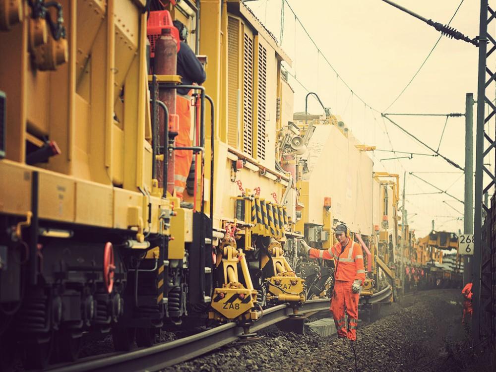 Sanierung einer Bahnstrecke.
