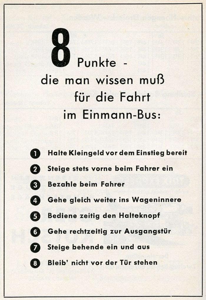 Hinweise zur Nutzung des Einmann-Busses