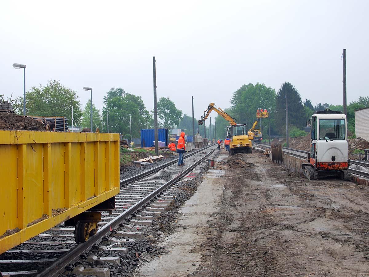 Bauarbeiten am Bahnhof Heinsberg.