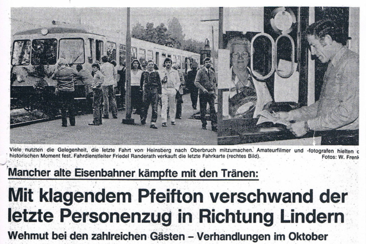 Zeitungsbericht zur Einstellung des Personenverkehrs Lindern - Heinsberg .