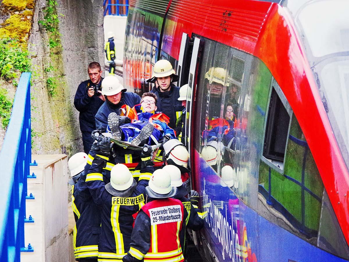 Brandschutzübung an der euregiobahn.