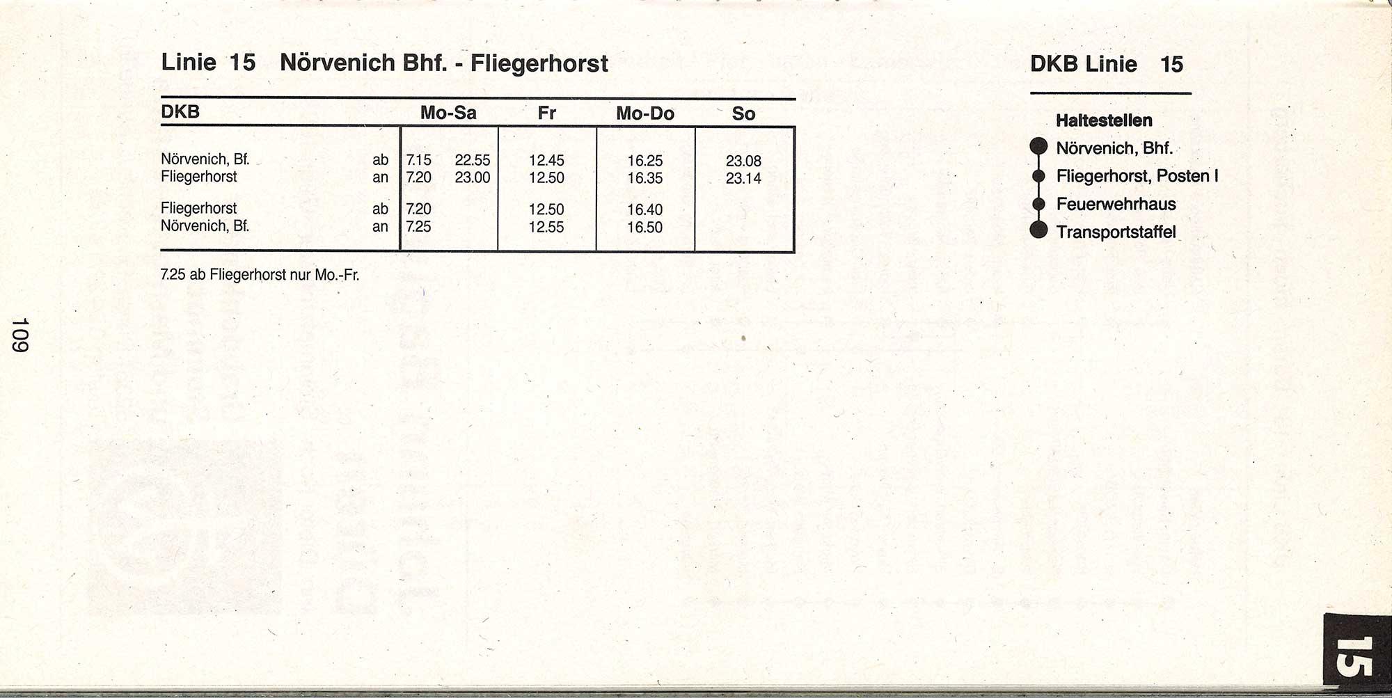 Fahrplan der Linie 15 aus dem Jahr 1996.