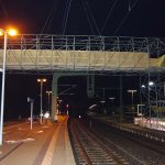 Montage der Behelfsbrücke.